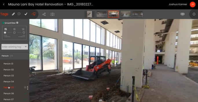 Vinnie AI scans a 360 degree StructionSite image and provides a headcount of all workers in a particular area of a jobsite.