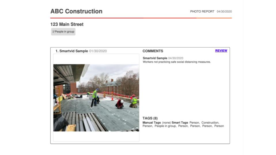 On-demand photo-centric reports for field safety