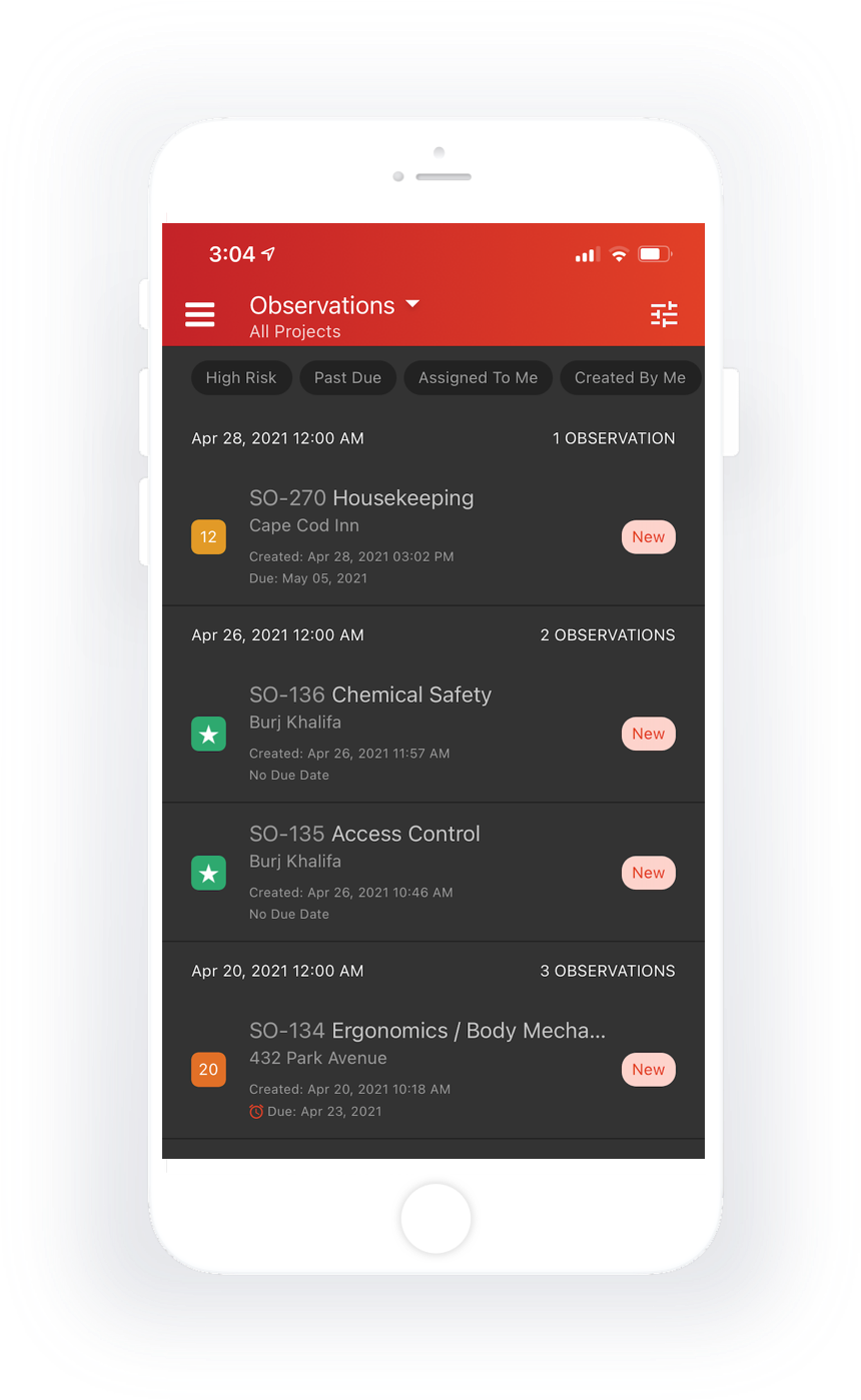 Manage observations by risk and status.